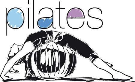 Sketch of woman doing pilates Vector illustration