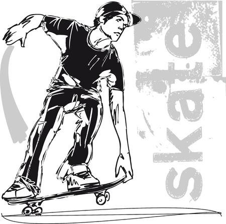 Boceto de ilustración vectorial Skateboard niño Ilustración de vector