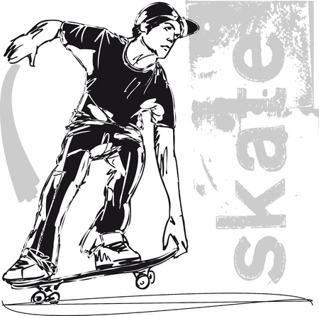 Sketch of Skateboard boy Vector illustration