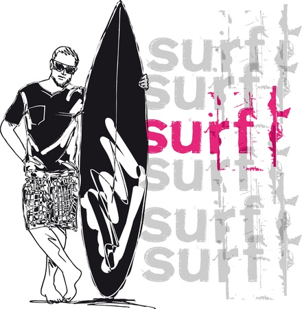 Sketch of man with surfboard  Vector illustration  Vector