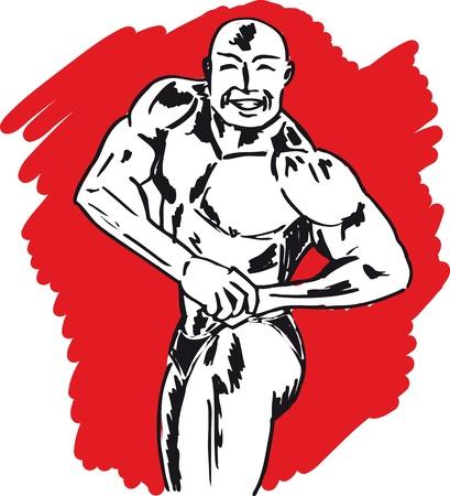 Sketch of bodybuilder  vector illustration  Vector