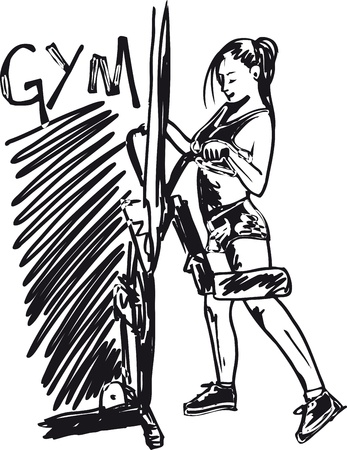 working out: Sketch of a woman working out at the gym with dumbbell weights