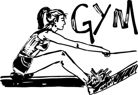 workout gym: Sketch of woman exercising on machines at gym - health club  vector illustration