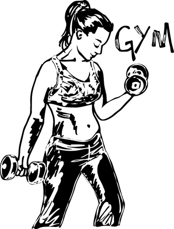 hand with dumbbell: Sketch of a woman working out at the gym with dumbbell weights