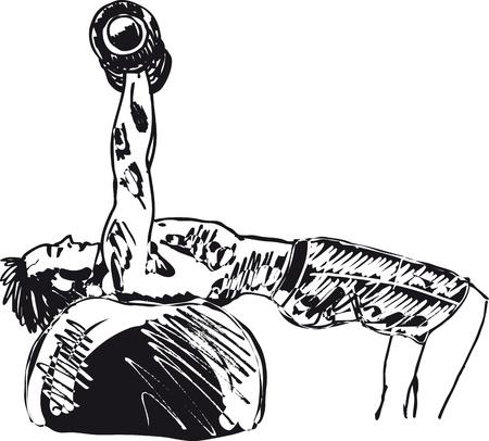 workout gym: Sketch of strong man  Vector illustration