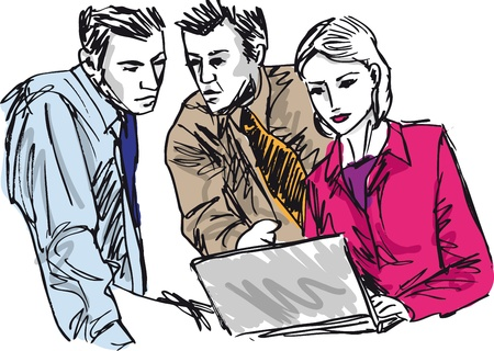discussing: Sketch of successful business people working with laptop at office Illustration