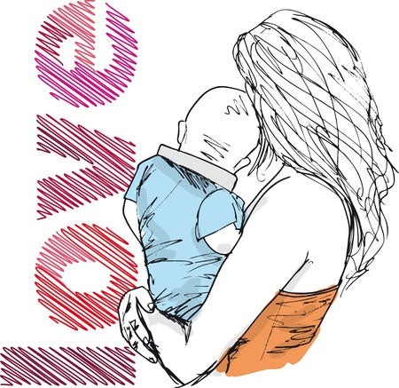 single mother: Sketch of mom and baby, vector illustration
