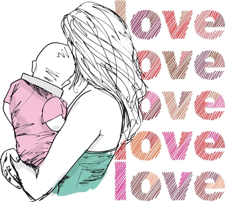 Sketch of mom and baby, vector illustration  Vector