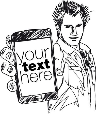 man on cell phone: Boceto de Chico guapo que muestra su ilustraci�n vectorial moderno Smartphone