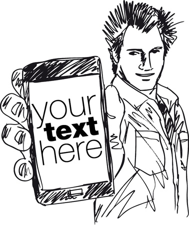 mobile sms: Sketch of Handsome guy showing his Modern Smartphone  Vector illustration