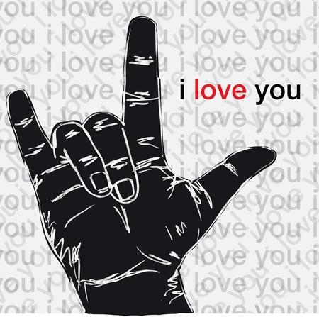 rock 'n ' roll: I love you hand symbolic gestures illustration  Illustration