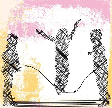 playmates: saltar la cuerda ilustraci�n vectorial