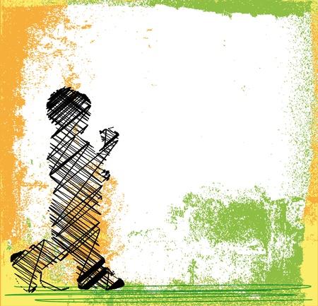 outdoor fitness: Abstract sketch of children walking  Vector illustration Illustration