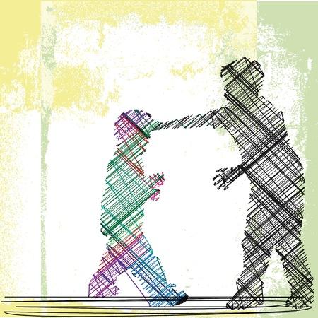 maltrato infantil: acosador empuja en torno a una ilustraci�n vectorial ni�a m�s peque�a