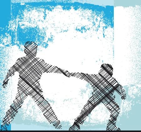 schooldays: Boys holding hands  Vector illustration  Illustration