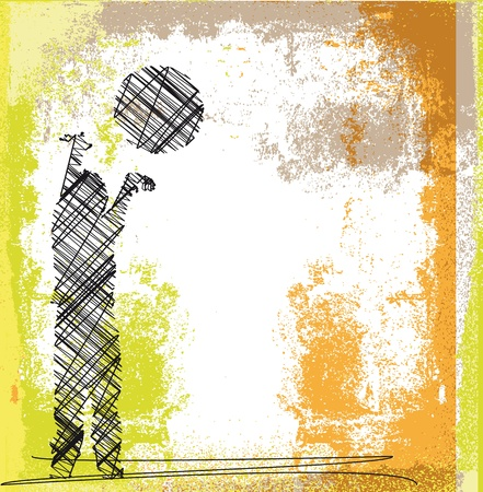 high school basketball: Sketch of Young boy playing basketball  Vector illustration  Illustration