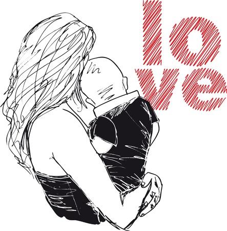 dzień matki: Szkic mama i dziecko, ilustracji