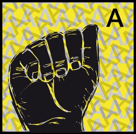 Boceto de carteles gestos del lenguaje de mano, una ilustración de letras