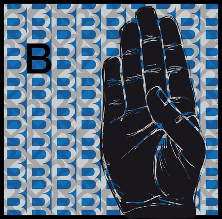 palm reading: Sketch of Sign Language Hand Gestures, Letter b illustration