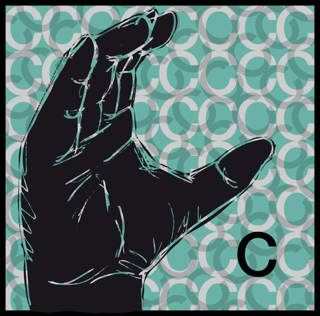Sketch of Sign Language Hand Gestures, Letter c illustration Stock Vector - 13014137