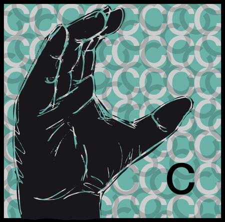Sketch of Sign Language Hand Gestures, Letter c illustration Stock Vector - 13014137