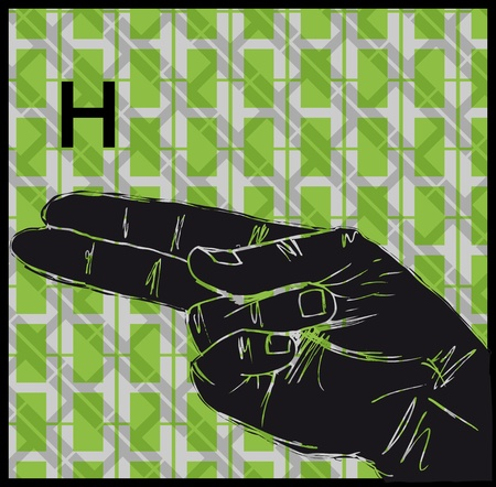 palm reading: Sketch of Sign Language Hand Gestures, Letter h illustration