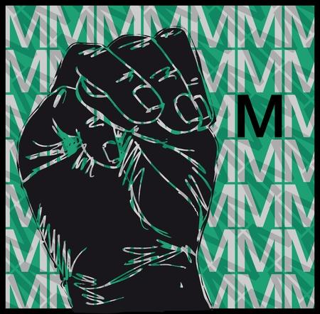 Sketch of Sign Language Hand Gestures, Letter m illustration Stock Vector - 13014170