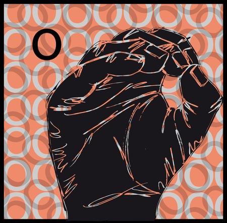 Sketch of Sign Language Hand Gestures, Letter o illustration Vector
