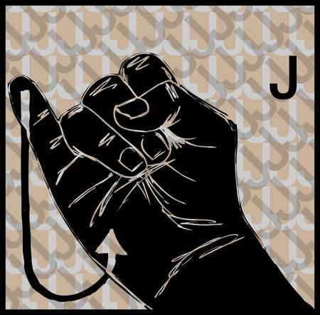Sketch of Sign Language Hand Gestures, Letter j illustration Vector