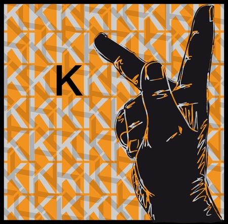 palm reading: Sketch of Sign Language Hand Gestures, Letter k illustration Illustration