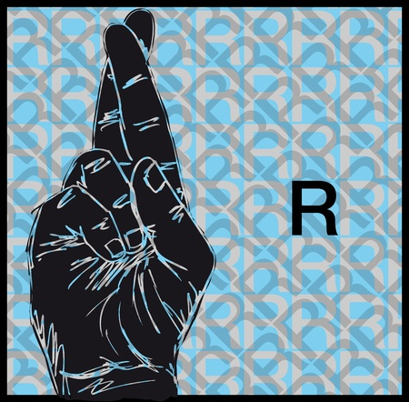 Sketch of Sign Language Hand Gestures, Letter r illustration Vector