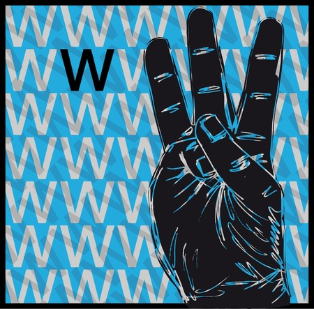 Sketch of Sign Language Hand Gestures, Letter w illustration Vector