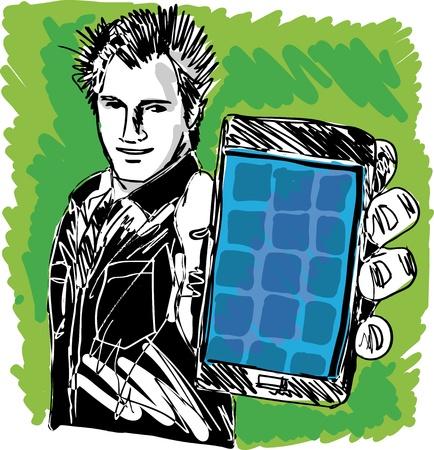 man on cell phone: Boceto de Chico guapo que muestra su tel�fono inteligente moderno Vector