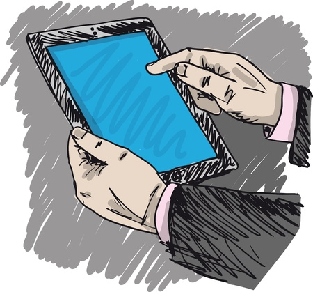 Sketch of Businessman hands are pointing on touch screen device   Vector