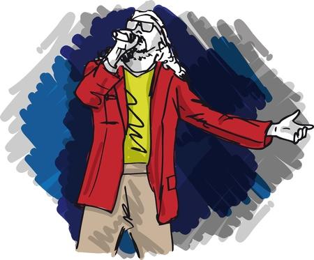 rock singer: Sketch of man singing into a microphone  Vector illustration  Illustration