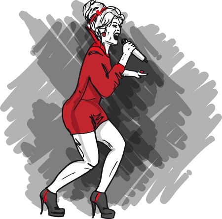 rock singer: Sketch of sexy woman singing into a microphone  Vector illustration Illustration
