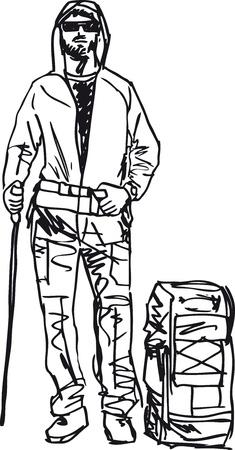 mountaineer: Sketch of backpacker  Vector illustration Illustration