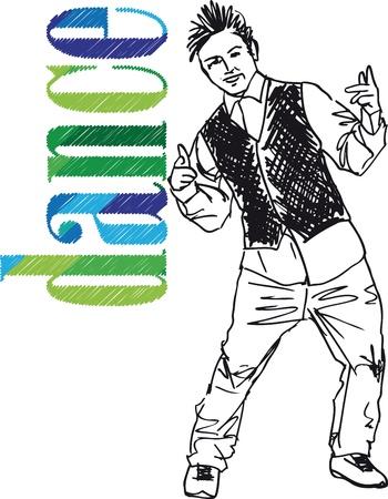 hip hop dance pose: Boceto de ilustraci�n vectorial joven hombre bailando hip-hop