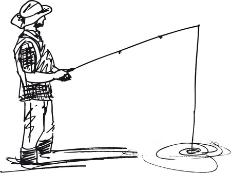 angling: Sketch of fisherman with rod  Vector illustration Illustration