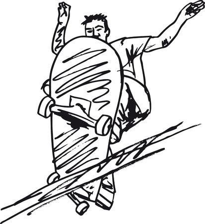 niño en patines: Boceto de ilustración vectorial Skateboard niño