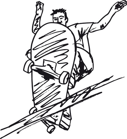 skateboarder: Sketch of Skateboard boy  Vector illustration