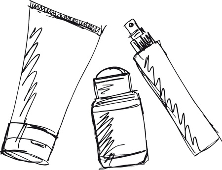 balm: Sketch of Cosmetics dispensers and tube  Vector illustration