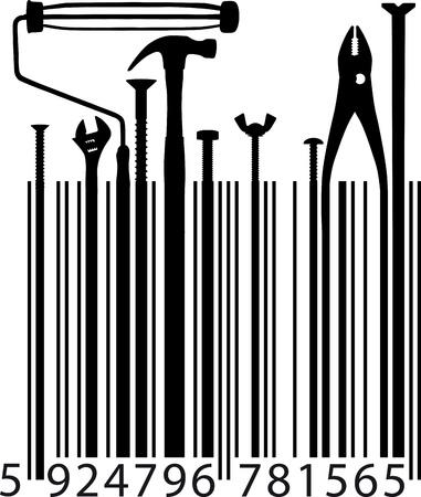 the hammer: diferentes herramientas de ilustraci�n vectorial de c�digo de barras Vectores