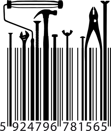 hammer drill: different tools on bar code  Vector illustration