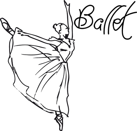 zapatillas ballet: Boceto de bailarina de ballet. Ilustraci�n vectorial