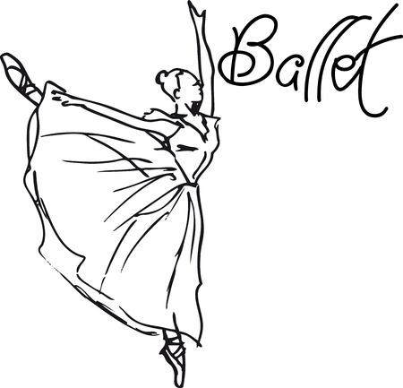 ballerina shoes: Sketch of ballet dancer. Vector illustration