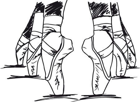 zapatos escolares: Sketch de los pies de bailarina de ballet. Ilustraci�n vectorial