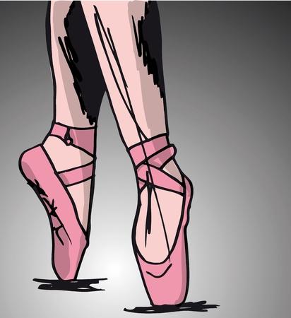 ballet slipper: Sketch de los pies de bailarina de ballet. Ilustraci�n vectorial
