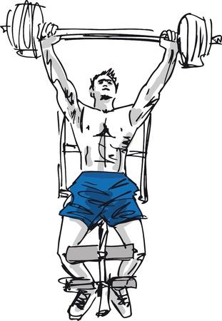 levantamiento de pesas: Bosquejo del hombre fuerte. Ilustración vectorial
