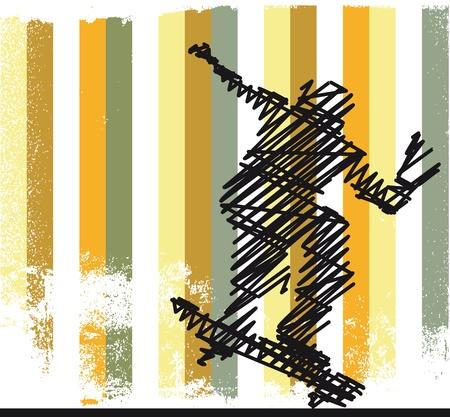 Abstract Skateboarder jumping. Vector illustration  Illustration